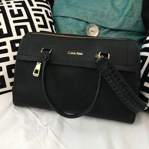 NWOT Calvin Klein black sad saffiano leather bag